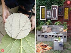 Leaf pattern stepping stone & sturdy bench with storage.