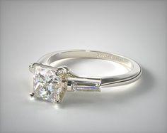 Tapered Baguette Diamond Engagement Ring | 14K White Gold | 17150W14 - Mobile
