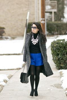 Winter Brights - Cobalt Blue Shorts & Statement Necklace #ootd