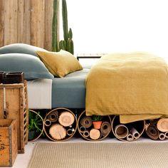 #PineConeHill  Rough & Tumbleweed Chambray Bed
