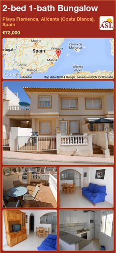 2-bed 1-bath Bungalow in Playa Flamenca, Alicante (Costa Blanca), Spain ►€72,000 #PropertyForSaleInSpain