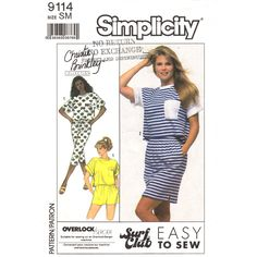 1980s Top, Skirt, Short Shorts, Cropped Pants Pattern Simplicity 9114 Womens Size 10 12 UNCUT