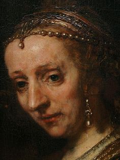 """A Woman with a Pink"" — Rembrandt (detail) early 1660s Met. Museum NY - this is a pendant portrait to ""Man with a Magnifying Glass"""