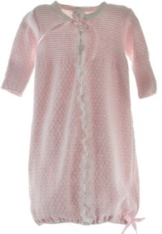 Beautiful newborn girls long sleeve knit gown has white lace trim and pink satin ribbon bow at the neck and on the hem of the gown. Infant girls take home gown is pink and white stripes and has button accents on the chest. Layette gown has flap on the sleeves to cover baby's hands and elastic hem to keep feet covered.