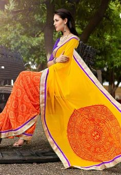 Yello & Orange Bandhani Saree