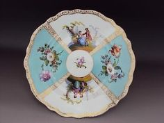 Beautiful Dresden Antique Porcelain Hand Painted  Dish Plate