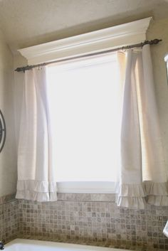 Bathroom Or Window Over The Kitchen Sink Simple Frilly Curtain Decorative Molding