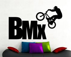 BMX Wall Sticker Extreme Sports Decals Freestyle Jumping Living Room Decor Boys Room Wall Art Mural Waterproof Stickers 8bizz
