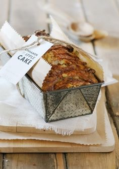 This cinnamon and apple cake is full of festive flavour. Bake it in the tin and gift the cake, the tin, and even the recipe to a favourite friend. Apple Loaf, Apple Pie, Cupcakes, Cupcake Cakes, Apple Cake Recipes, Apple Cakes, Baking Recipes, Piece Of Cakes, Cinnamon Apples