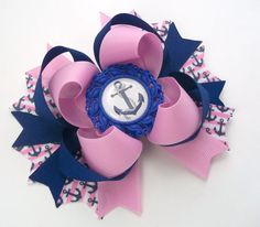 Anchor Nautical Hair Bow by JustinesBoutiqueBows on Etsy