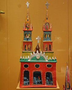 Beautiful clay church from Mexico.  Folk Art