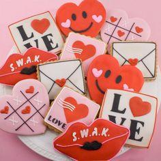 Sending love Valentine cookies by TS Cookies on Etsy