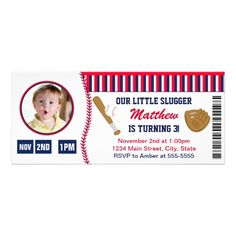 Baseball Ticket Birthday Invitation Photo Card