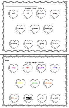 Candy Heart Colors Worksheet (free; from Preschool Wonders)