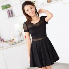 Skater Dress with Sheer Mesh Inserts from #YesStyle <3 59 Seconds YesStyle.com