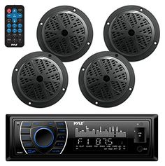 Bluetooth Marine Receiver Stereo & Speaker Kit, Hands-Free Calling, Wireless Streaming, MP3/USB/SD Readers, AM/FM Radio, (4) 6.5? Waterproof Speakers (Black). For product info go to:  https://www.caraccessoriesonlinemarket.com/bluetooth-marine-receiver-stereo-speaker-kit-hands-free-calling-wireless-streaming-mp3usbsd-readers-amfm-radio-4-6-5-waterproof-speakers-black/