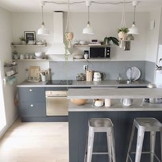 """945 Likes, 9 Comments - Farrow & Ball (@farrowandball) on Instagram: """"Create contrast in the kitchen by using #StrongWhite on the walls and #Railings on the cabinets. 📷:…"""""""