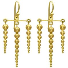 Preowned Golden Sphere Satin Finish Gold Dagger Drop Earrings ($1,985) ❤ liked on Polyvore featuring jewelry, earrings, dangle earrings, multiple, gold jewelry, long gold earrings, gold earrings and long earrings