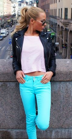 LOVE the blue! and the leather jacket..