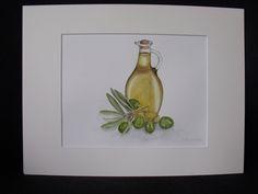 schilderij olijfolie  met olijven door SoSweetByIneke op Etsy