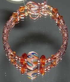 Copper & boro lampwork beaded bracelet by nycfashionconnection, $45.00