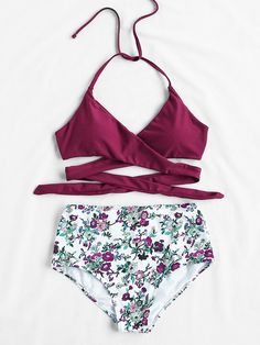 Sets de bikini cruzado de cintura alta con estampado de calicó-Spanish SheIn(Sheinside)