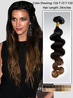 24 inches Wavy Three Tone Ombre Indian Remy Hair Extensions usw151
