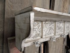 Large primitive wall shelf, french country wall shelf, antique ceiling tins, cottage chic decor, knobs, shabby chic shelf. $149.99, via Etsy.