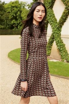 Buy Black/Red Printed Long Sleeve Dress from the Next UK online shop Shoulder Shirts, Evening Dresses, Bridesmaid Dresses, High Neck Dress, Rompers, Casual, Skirts, Uk Online, Clothes