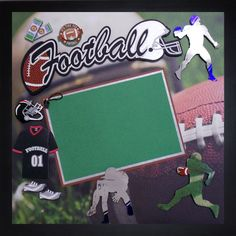 TIME FOR FOOTBALL Premade Memory Album Page (Gallery Wood Frame Sold Separately) by theshadowbox on Etsy