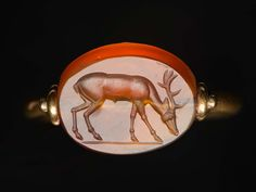 Scaraboid gem with stag | Museum of Fine Arts, Boston