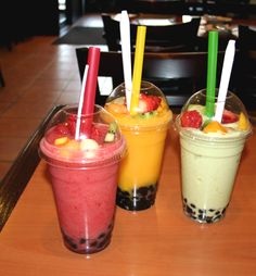 Bubble Tea. You've got your thick straws, tapioca pearls, and, most importantly, the smoothie/milk. There's nothing more classic than milk tea, but I prefer the sweet taste of fruit smoothies.