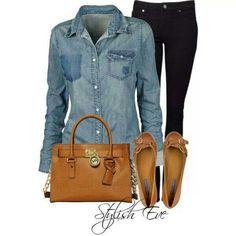 Blue denim shirt, black pants, tan flats
