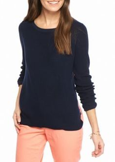 Crown  Ivy  Novel Navy Panel Back 2Fer Sweater