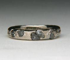 Palliduim 18 karat White Gold Cuttlefish Float Cast Ring with Rough Diamonds. $1,225.00, via Etsy.