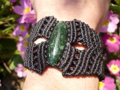 guatemalan JADE  black MACRAME BRACELET pulsera de macrame negro con jade guatemalteco, via Etsy.