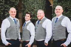 We love this wedding day look! These handsome fellas ditched the jackets and went with gray vests, navy blue ties, and navy pants for a very handsome look! | Villa Siena | Poppyseed Photography | #Villasiena #weddingvenue #gilbertarizona #arizonaweddings #arizonaweddingvenue #groom #groomsmen #gray #navy #vests #weddingdaylook Reception Party, Party Venues, Event Venues, Navy Groom, Groom And Groomsmen Attire, Intimate Wedding Ceremony, Wedding Venues, Wedding Day, Grey Vest