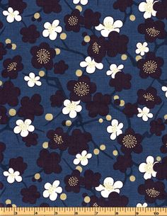 Cream & Purple Flowers with Gold Metallic on a Blue background - Quilt Gate - HR3130-14 - 100% Cotton Fabric by QuiltsOnTheFly on Etsy