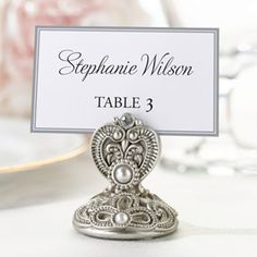 "WeddingDepot.com ~ Regal Elegance Jeweled Place Card Holder - Set of 4 ~ Guests will arrive at their tables to find these inviting 'regal elegance' place card holders.  They come in a set of four and measure 2"". Place cards not included."