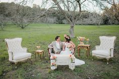 James and the Giant Peach styled wedding, walnut orchard, vintage // Catie Coyle Photography