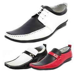 Mens Syn Leather  Two Tone Black Red White Spats Jazzy Shoes in Size 6-11 Narrow