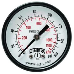 Winters Instruments PEM-LF Series 2 in. Lead-Free Brass Pressure Gauge with 1/8 in. NPT CBM and 0-160 psi/kPa PEM1408LF at The Home Depot - Mobile
