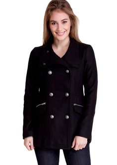 Military Crest Detail Winter Jacket J30529B, clothing, clothes, womens clothing, jeans, tops, womens dress