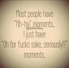 """Most people have """"Ah-ha"""" moments; I just have """"Oh for fucks sake, seriously!?"""" moments."""