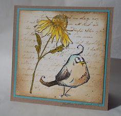 Hutton's arts and crafts Tim Holtz Bird Crazy Flower Garden handmade card