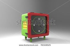 Clock alarm with green case and black red dial 3d render