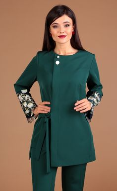 Suit Moda Urs #2462 z Suit Pattern, Professional Outfits, Trendy Dresses, Suits For Women, Frocks, Trousers, Almond Flour, Coat, Beaded Jewelry