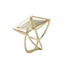 Kattri Tetrahedron yellow gold and rutilated quartz ring (£899; available at kattri.com).