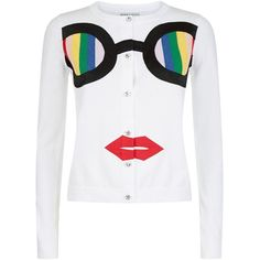 Alice + Olivia Ruthy Rainbow Stace Face Cardigan ($525) ❤ liked on Polyvore featuring tops, cardigans, button up cardigan, white top, white button down top, rainbow cardigan and cardigan top