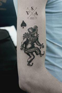 joker & spade by andrey svetov #arm #tattoos